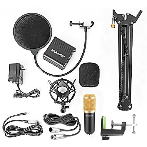 Neewer Condenser Microphone (Gold) + Suspension Boom Scissor Arm Stand+ Mounting Clamp+ Pop Filter+ 48V Phantom Power Supply