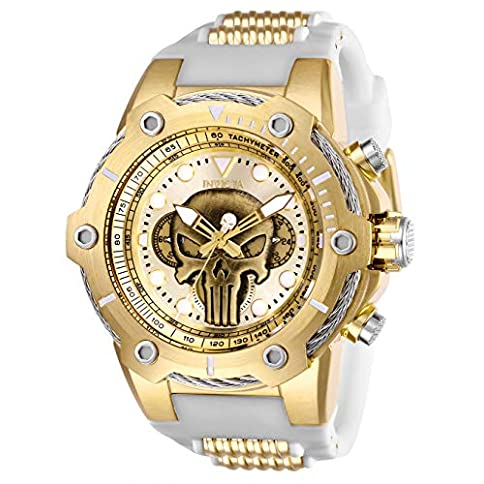 - 51OVPddBUUL - Invicta Men's Marvel Stainless Steel Quartz Watch with Silicone Strap, White, 30 (Model: 26924)