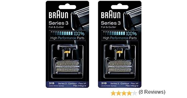 Braun Cortador Y 31B Serie 5000/6000 Contorno Flex Xp Integral Lámina Cabeza Recambio Combi Pack Negro, Conde 2 ...