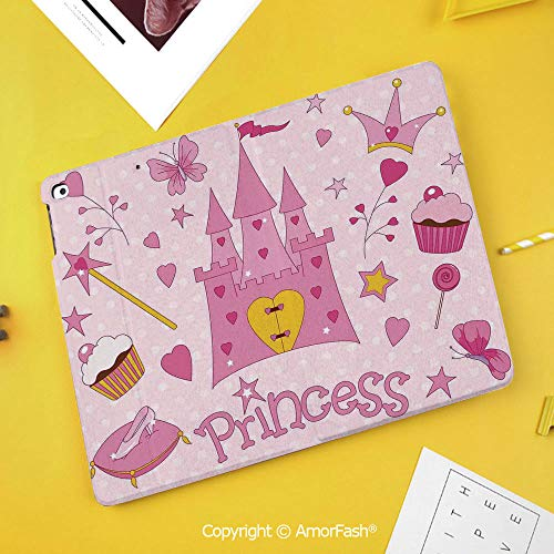 Printed Case for Samsung Galaxy Tab S4 Corner Protection Premium Vegan Leather Stand Cover,Kids,Little Princess Tiara Slippers Fairy Castle Heart Lollipop Wand Cupcake Girls Party Print ()