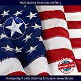 American Flag | 100% Guarantee | Standard Duty | Embroidered Stars | Sewn Stripes | 210D Oxford Nylon | Quadruple Stitched Fly End | Brass Grommets for Easy Display | U.S. Flag (3 x 5 Ft)