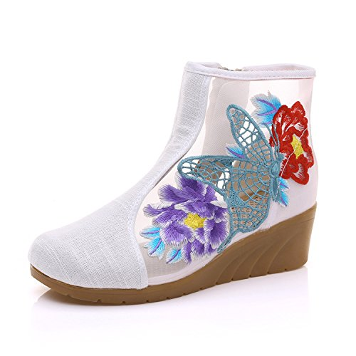 De Zapatos Pendiente Encaje De Bordado Corto Gasa Verano De Botas Tubo Tela Rice Zapatos La Estilo white Con Popular KHSKX TqxPEnZT
