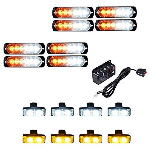 (8pcs Amber/White Ultra Slim 6-LED Strobe Light Bar + 8pcs (4 White + 4 Amber) 2-LED Flashing Grille Light Kit Emergency Warning Hazard Construction Car Truck SUV Van)