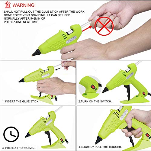 Hot Glue Gun Full Size 60W Heavy Duty Craft Glue Gun with Nozzle & 10Pcs 11 mm Glue Sticks and Hot Melt Glue Gun with Switch for DIY, Arts & Crafts, Home and Office Quick Repairs (green)