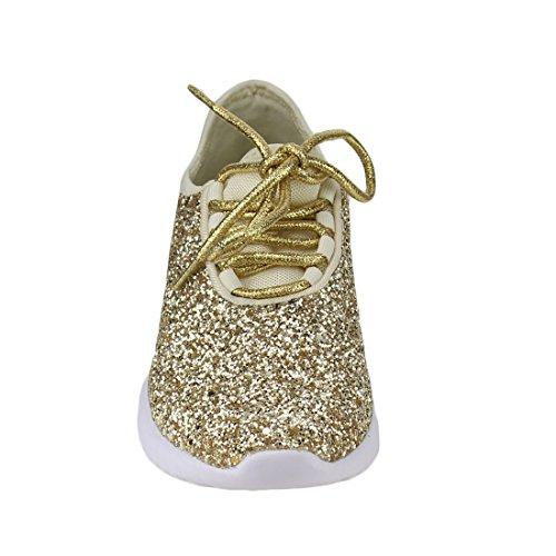Alltid Knytte Kvinners Remy-18 Glitter Joggesko | Mote Joggesko | Sparkly Sko For Kvinner Gull