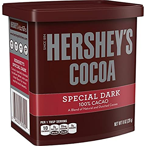 HERSHEY'S SPECIAL DARK 100% Cocoa (Natural and Dutched Cocoas), Gluten Free, 8 Ounce Can (Pack of - Hot Chocolate With Cocoa Powder