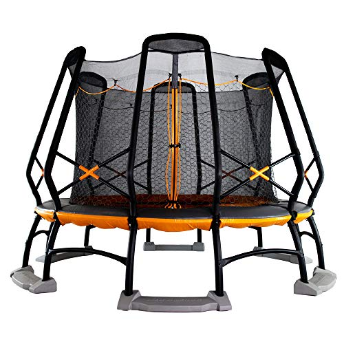 Monxter XT9 14 Foot Round Trampoline and Safety Enclosure Combo with Water Anchor System – Meets or Exceeds ASTM Safety Standards – Orange