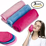 Makeup Remover Cloth 3 Pack - Chemical Free - Move Makeup Instantly with Just Water - Reusable Facial Cleansing Towel - Money-back Satisfaction Guaranty (1Pink+1Blue+1Rosy)