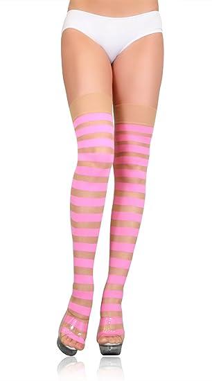 e86a3609b2f Amazon.com  Leg Avenue Opaque Striped Sheer Stockings Pink Nude One ...