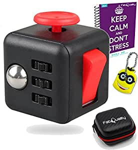 FabQuality Cube Anxiety Attention Toy With BONUS eBook Included + Minion Key Chain - Relieves Stress And Anxiety And Relax for Children and Adults BONUS EBOOK is sent by email