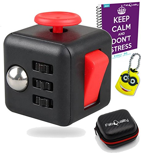 FabQuality Cube Anxiety Attention Toy With BONUS eBook Included + Minion Key Chain - Relieves Stress And Anxiety And Relax for Children and Adults BONUS EBOOK is sent by (Minions Movie: Minion Kevin Adult Costume)