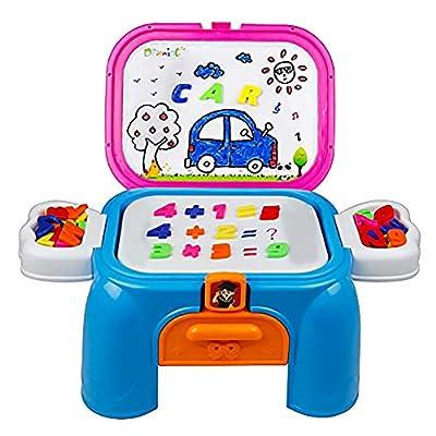 Puzzle Magnetico Giocattolo 57 Pcs Banco Scuola Tavolo Da Disegno E Lavagna Magnetica Sgabello Portatile Per Bambini