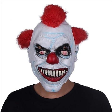 ZX Maschera Halloween Latex Capelli Rossi Pagliaccio Terrorista Copricapo  Spaventoso Smorfia Adulto Masquerade Diavolo Morte 5e7ac1ff7cfa