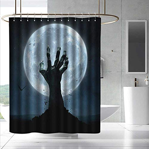 Halloween Wide Shower Curtain Realistic Zombie Earth Soil Full Moon Bat Horror Story October Twilight Themed for Master, Kid's, Guest Bathroom W55 x L86 Blue Black
