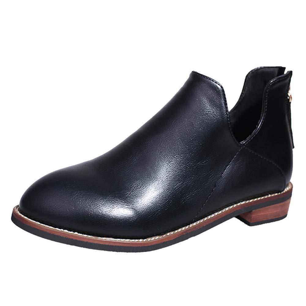 Mujer botas planos casual con cremallera, Sonnena ❤️ Zapatos de punta redonda para mujer Botines de color puro con cremallera Zapatos de tacó n cuadrado Botas Casual