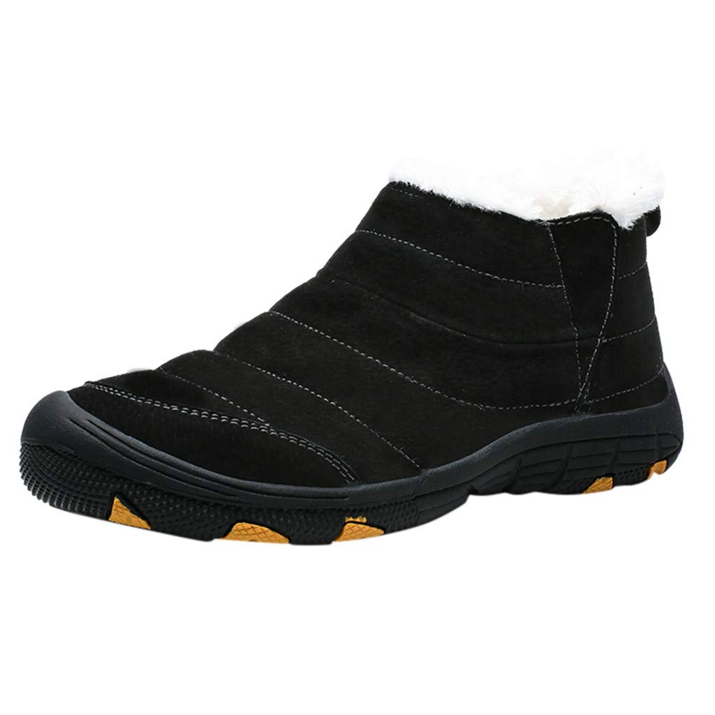 Men Boots Casual, HOSOME Men's Casual Plus Velvet Warm Cotton Boots Waterproof Comfortable Snow Boots by HOSOME Men Shoes