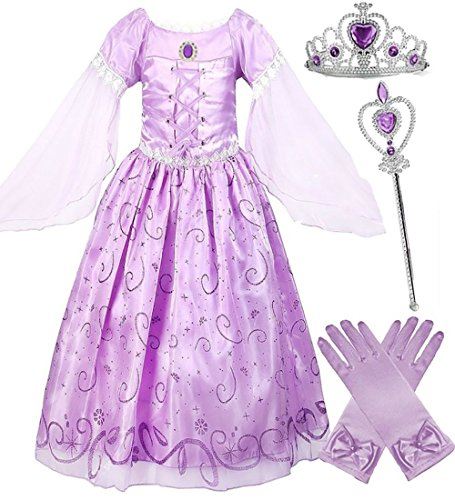 Girls Rapunzel Deluxe Princess Party Dress Costume (9-10)