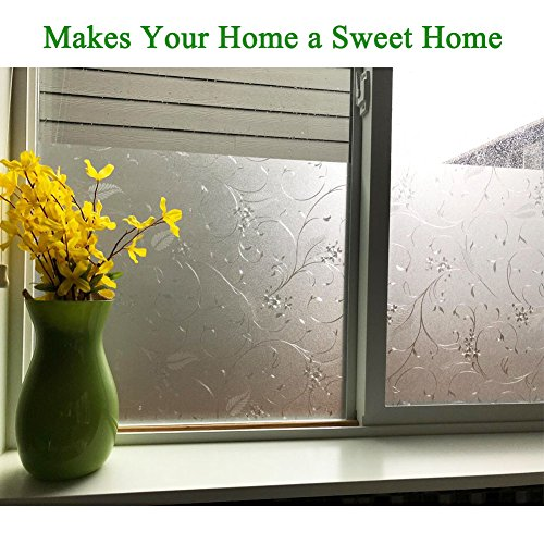 Mikomer Privacy Window Film Wheat Static Cling Glass Door Film, Non Adhesive Window Cling/Removable/Heat Control/Anti UV for Office and Home Decoration,17.5In. by 78.7In. by Mikomer (Image #3)