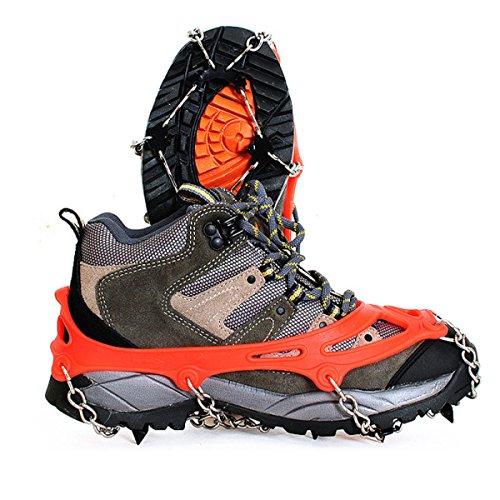Griffe 8 Zähne Krallen Steigeisen Anti-Rutsch-Universal Stretch Schuhe Abdeckung Edelstahl Kette Outdoor Ski Eis Schnee Wandern Klettern (2 Stück),Orange-M Orange-M