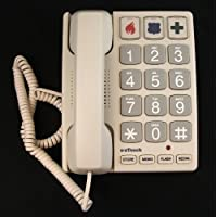 White Large Big Braille Button Easy to Use Telephones For Who May Have Age-Related Eye(s) Problems