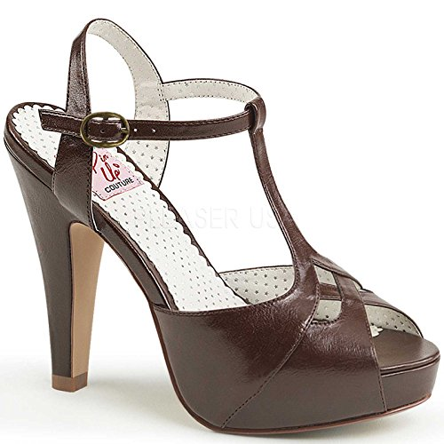 PIN UP COUTURE BETTIE-23 Women's Cut Out T-Strap High Stiletto Heel Dress Sandal, Color:DARK BROWN FAUX LEATHER, Size:6