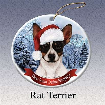 Holiday Pet Gifts Rat Terrier Santa Hat Dog Porcelain Christmas Tree Ornament