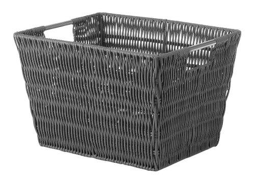 Whitmor Rattique Small Storage Tote Grey