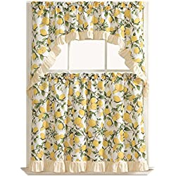 GoodGram Country Lemon Fest 3 Pc. Kitchen Curtain Tier & Swag Set