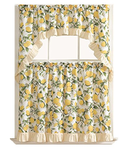 Country Lemon Fest 3 Pc. Kitchen Curtain Tier & Swag Set by GoodGram