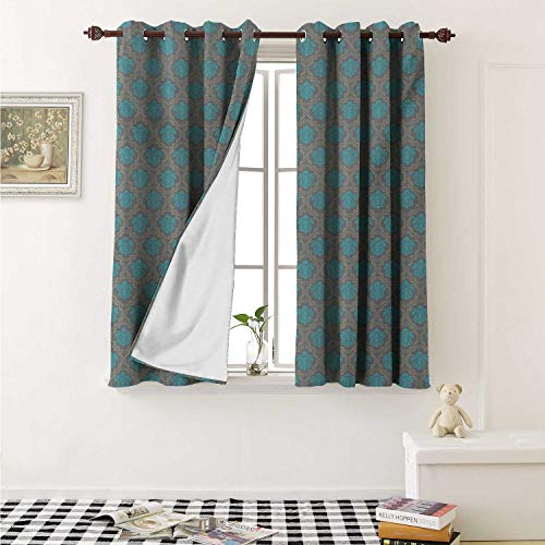 shenglv Damask Blackout Draperies for Bedroom Venetian Style Damask Swirled Lines and Blossoms Italian Artful Flourish Curtains Kitchen Valance W72 x L63 Inch Cocoa Sky Blue Yellow