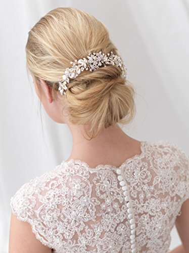 Element Princess Earrings (USABride Bridal backpiece combines elements of nature for an elegant bridal look This back comb features ornate hand-wired leaves accented with floral rhinestones clusters TC-2292)