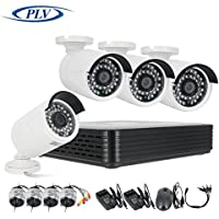 PLV 4PCS 720P Outdoor CCTV Bullet Camera System 100ft (30m) Night Vision with 4 Channel Security AHD DVR Kit Support Smartphone Remote View (4x60ft Video&Power Cable)