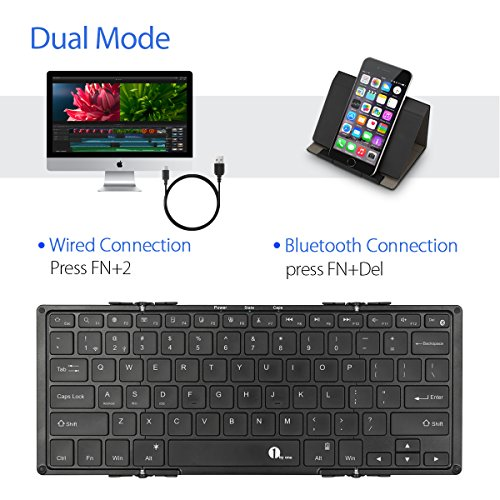 1byone backlit foldable bluetooth keyboard portable wireless keyboard with wired wireless. Black Bedroom Furniture Sets. Home Design Ideas