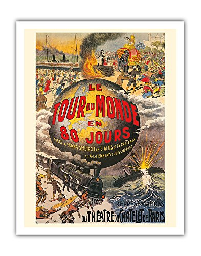 Pacifica Island Art Around the World in 80 Days (Le Tour du Monde en 80 Jours) - Jules Verne - Théâtre du Châtelet - Vintage Theater Poster by L. Charbonnier c.1874 - Fine Art Print - 11in x 14in ()