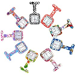 Top Plaza 9 PCs Silicone Nurse Fob Pocket Watches Set - Floral Square Jelly Clip on Brooch