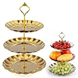3-Tier Cupcake Stand NHSUNRAY Round Stainless Steel Dessert Stand Cake Stand Wedding Parties Birthday Tea Party Serving Platter (3-Tier, gold)