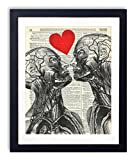 Human Anatomy Love Vintage Upcycled Dictionary Art Print - 8x10 inches