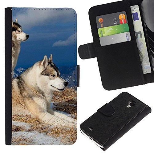 Billetera de Cuero Caso Titular de la tarjeta Carcasa Funda para Samsung Galaxy S4 Mini i9190 MINI VERSION! / Swedish Vallhund Elkhound Wolf Dog / STRONG
