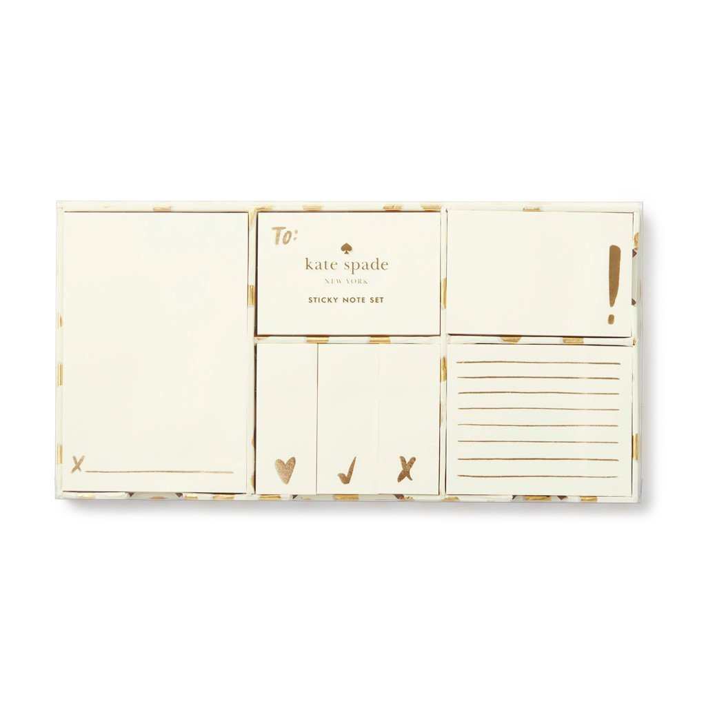 Kate Spade New York Women's Sticky Note Set, Flamingo Dot Gold