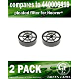 2 Pack For Hoover Sprint QuickVac Pleated Vacuum Filter (compares to 440001619). Genuine Green Label product.