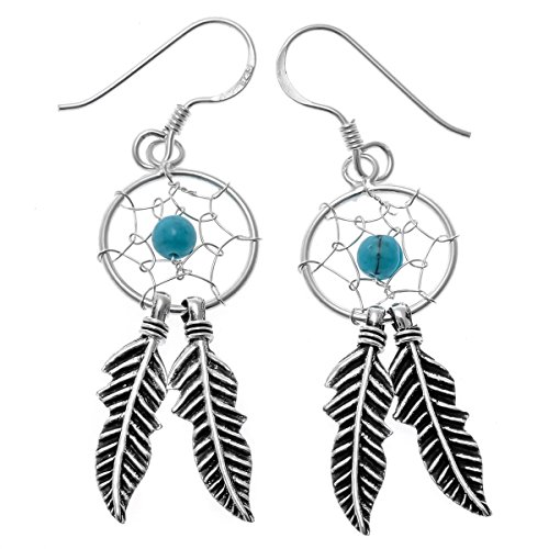 YACQ 925 Sterling Silver Dream Catcher Feather Turquoise Net Custom Drop Dangle Earrings Gift -