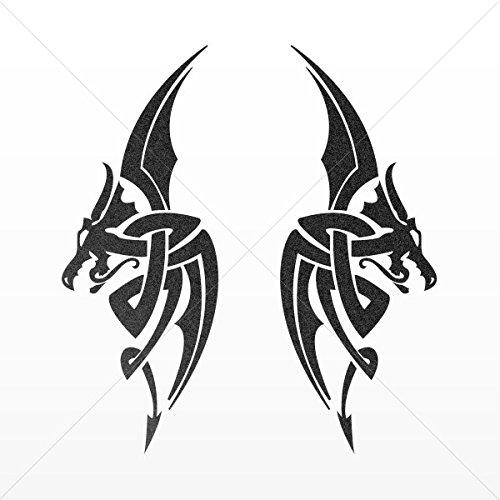 Decal Sticker Pair of Dragons Devil Tablet Laptops Weatherpr Mettalic Black (4 X 1.52 Inches)