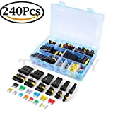240pcs Waterproof Car Electrical Connector 1/2/3/4/5/6 Pin Way Terminals with Mini Automotive Blade Fuses Mayitr