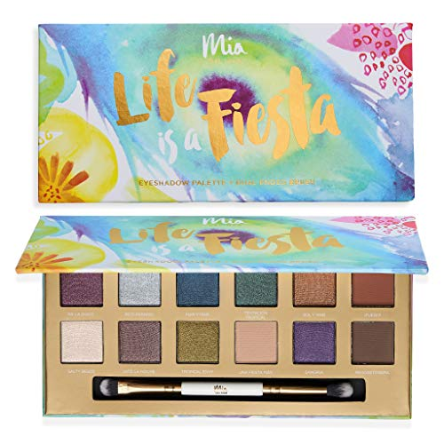Life Is A Fiesta Eyeshadow Palette Dual Ended Brush – 12 Bold and Versatile Tones Shimmery Matte Hues. Vegan And Clean Skin Care.