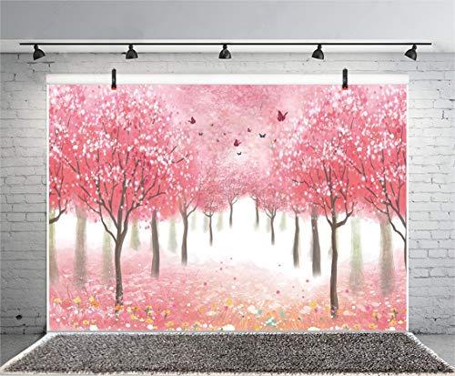 (Leyiyi 9x6ft Spring Cherry Blossom Photography Backdrop Wonderland Secret Garden Enchanted Forest Butterfly Sakura Flowers Background Kids Birthday Baby Shower Photo Portrait Vinyl Video Studio Prop)