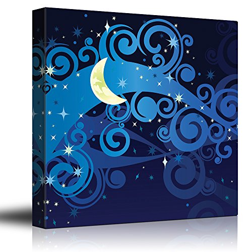 Vectored Illustration of a Yellow Crescent Moon on Blue Swirly Clouds and a Starry Sky