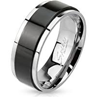 Blue Palm Jewelry - Rings Black Ion Stainless Steel Center Spinner Men's or Women's Band Ring R629