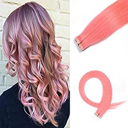 HAIQUAN Tape In Light Pink 20Pcs Human Hair Extensions 20 Inch 30g/pack Slilky Straight Seamless Skin Weft Remy Hair