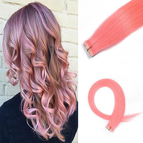 HAIQUAN Tape In Light Pink 20Pcs Human Hair Extensions 20 Inch 30g/pack Slilky Straight Seamless Skin Weft Remy Hair Review