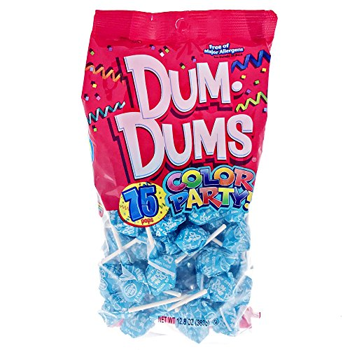 Ocean Blue Dum Dums Color Party - Cotton Candy Flavored - 75 Count Bag - 12.8 ounces - Includes Free How To Build a Candy Buffet - Colors Tiffany Co And